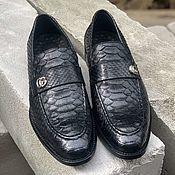 Обувь ручной работы handmade. Livemaster - original item Loafers, crafted from Python leather, in black color, model-to-order!. Handmade.