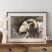 Картины и панно handmade. Livemaster - original item Watercolor painting Lamb (decor, aries, lamb, dark brown). Handmade.