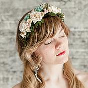 Украшения ручной работы. Ярмарка Мастеров - ручная работа Персиковый ободок с цветами, мятное украшение для волос, венок невесты. Handmade.