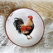 Подарки к праздникам ручной работы. Ярмарка Мастеров - ручная работа декоративная тарелка с петушком Утро раннее. Handmade.