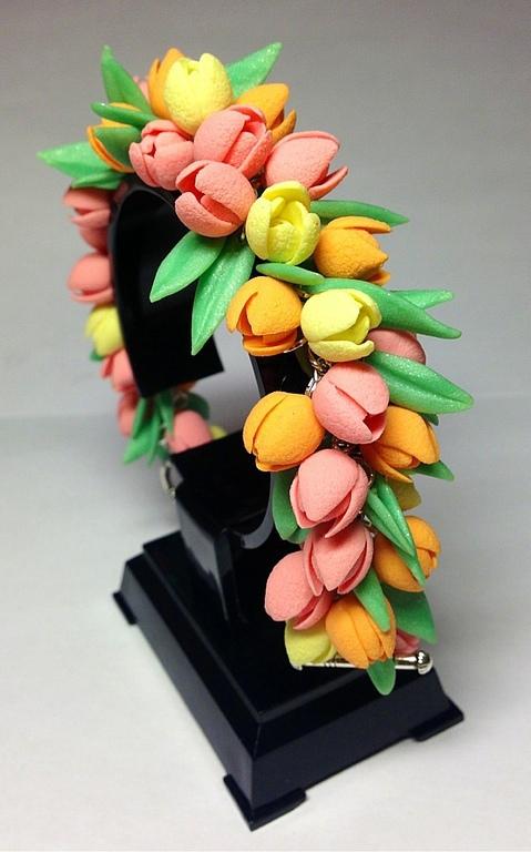 Комплекты украшений ручной работы. Ярмарка Мастеров - ручная работа. Купить Букет тюльпанов. Handmade. Розовый, зеленый, полимерная глина