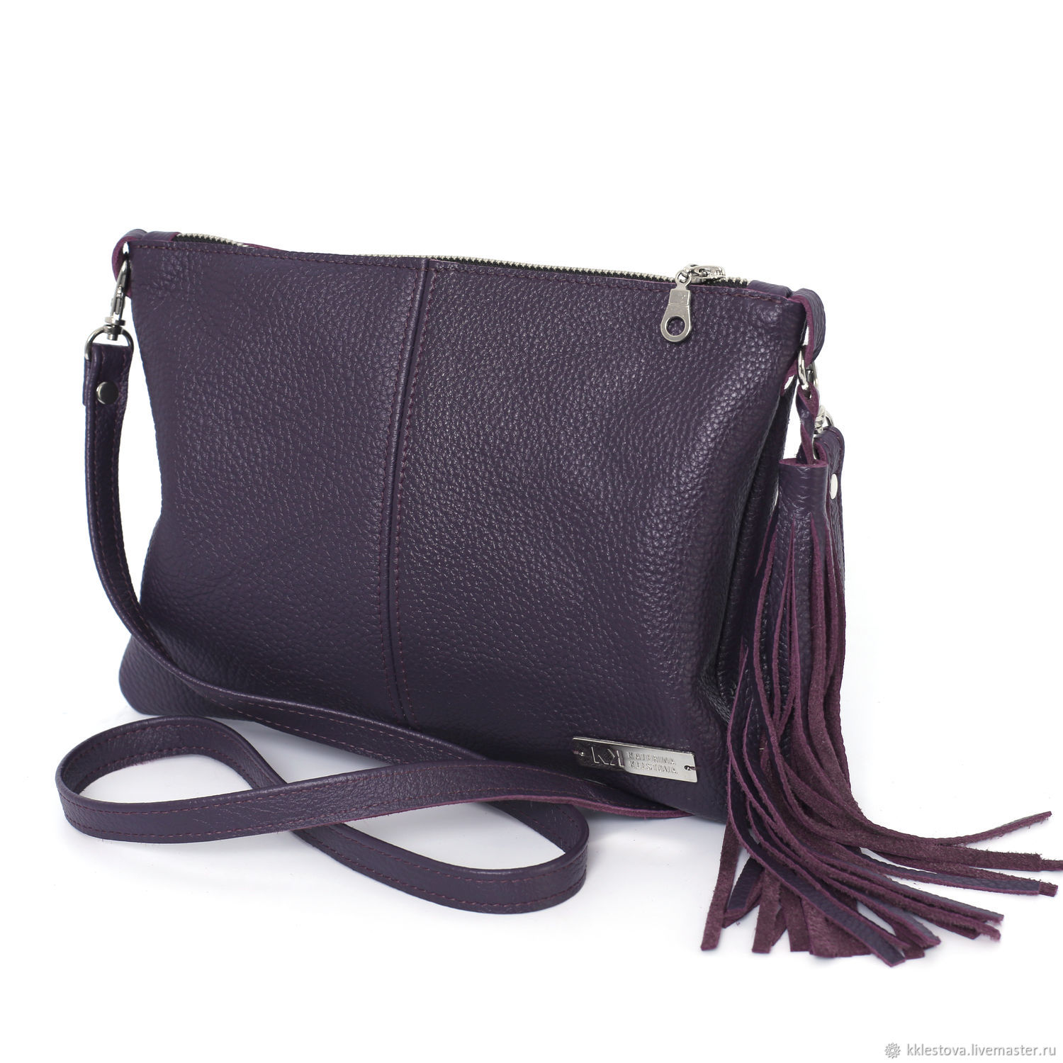 Handbags handmade. Livemaster - handmade. Buy Purple leather Bag with crossbody shoulder strap.Leather, crossbody, purple bag