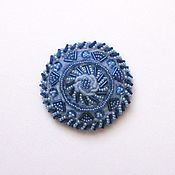 Brooches handmade. Livemaster - original item Brooch-round wool woven with embroidery beads blue/blue. Handmade.