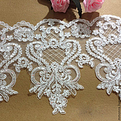Материалы для творчества handmade. Livemaster - original item Lace with sequins trim for wedding dress, wedding veils.. Handmade.