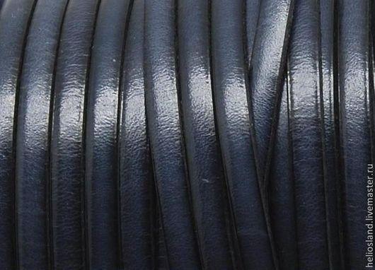 Для украшений ручной работы. Ярмарка Мастеров - ручная работа. Купить Кожаный шнур плоский 5 мм, серый. Handmade.