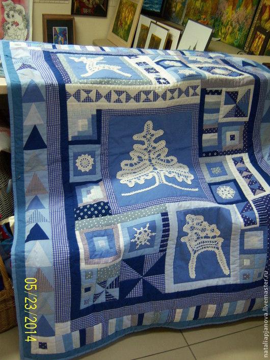 """Текстиль, ковры ручной работы. Ярмарка Мастеров - ручная работа. Купить Коврик лоскутный """"Изморозь"""". Handmade. Синий, печворк"""