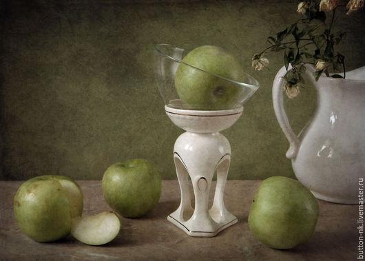 Фотокартины ручной работы. Ярмарка Мастеров - ручная работа. Купить Натюрморт Зеленые яблоки. Handmade. Оливковый, зеленый, белый, яблоки