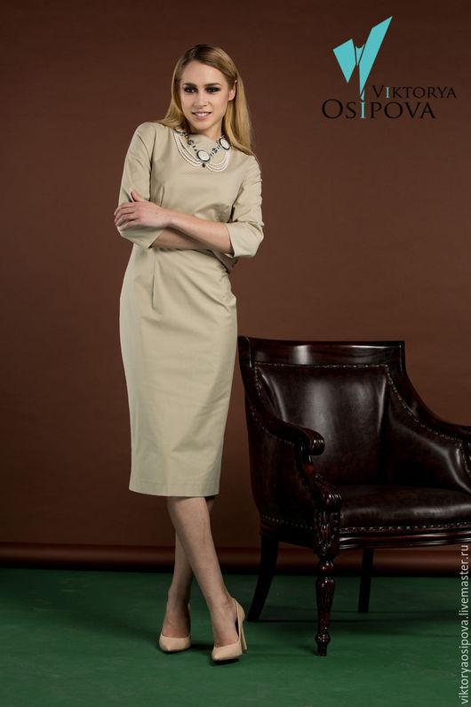 Платья ручной работы. Ярмарка Мастеров - ручная работа. Купить Элегантное платье с красивой планкой на спинке. Handmade. Бежевый