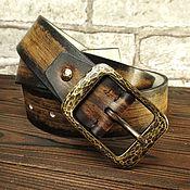 Ремни ручной работы. Ярмарка Мастеров - ручная работа Ремень из натуральной кожи с кованной брутальной пряжкой. Handmade.