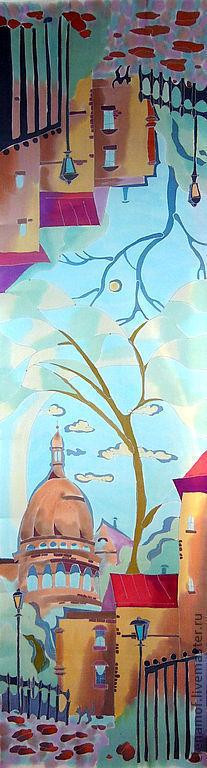 Шарфы и шарфики ручной работы. Ярмарка Мастеров - ручная работа. Купить Париж. Handmade. Подарок девушке, авторский аксессуар, атлас