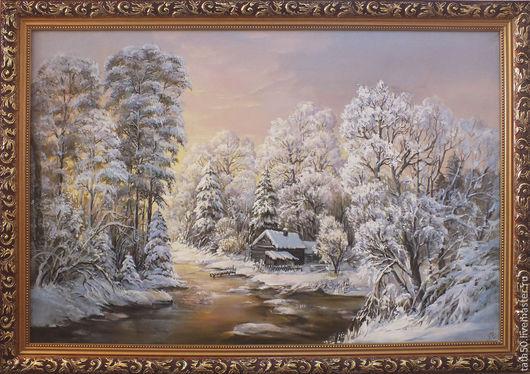 """Пейзаж ручной работы. Ярмарка Мастеров - ручная работа. Купить """" Зимнее утро"""". Handmade. Бледно-сиреневый, белый"""