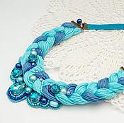 Украшения ручной работы. Ярмарка Мастеров - ручная работа Колье коса бирюзовое синее с бисером и стразами. Handmade.