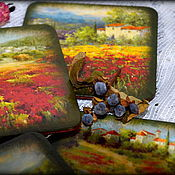 """Для дома и интерьера ручной работы. Ярмарка Мастеров - ручная работа Набор подставок под чашки """"Toscana"""". Handmade."""