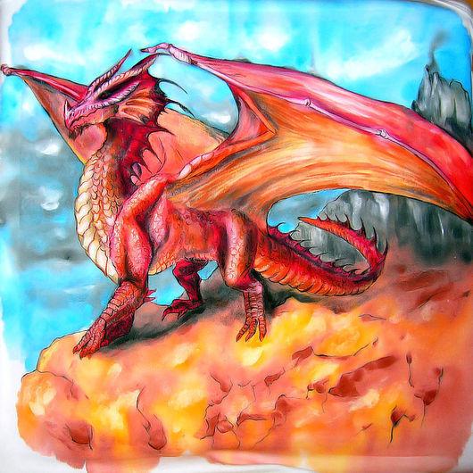 Сказочные персонажи ручной работы. Ярмарка Мастеров - ручная работа. Купить Red Dragon - Красный Дракон - майка. Handmade. Дракон