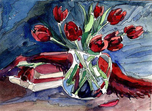 Картины цветов ручной работы. Ярмарка Мастеров - ручная работа. Купить Тюльпаны. Handmade. Ярко-красный, плед, графика, тушь