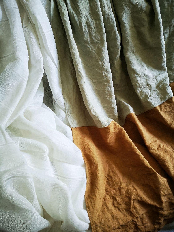 Шторы льняные двух цветные серый и горчичный лён linen, Шторы, Ростов-на-Дону,  Фото №1