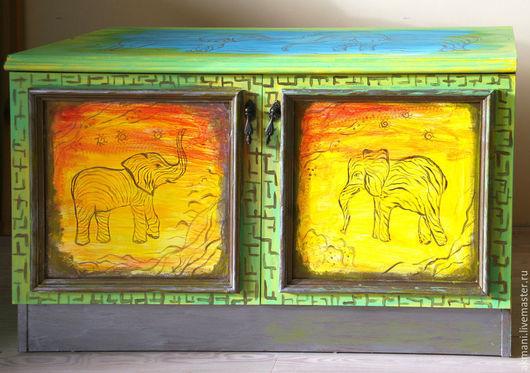 """Детская ручной работы. Ярмарка Мастеров - ручная работа. Купить Роспись тумбы """"Слоны"""". Handmade. Желтый, африканские мотивы, слоник"""