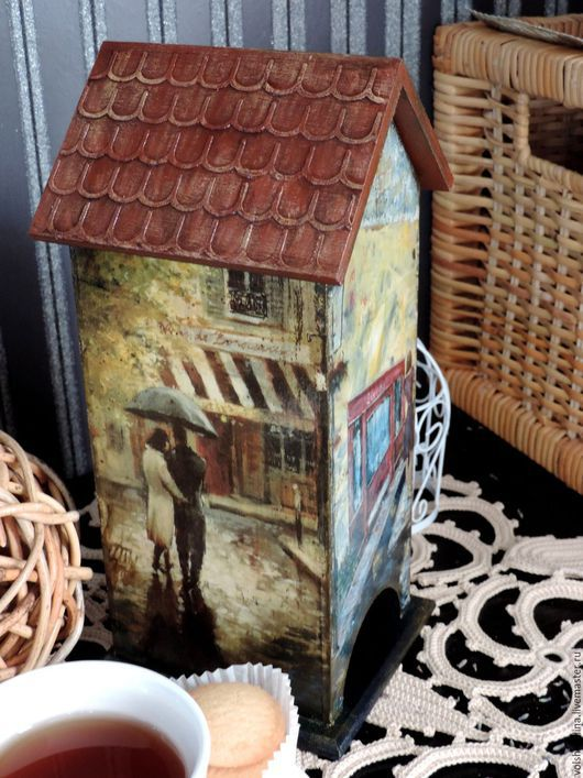 """Кухня ручной работы. Ярмарка Мастеров - ручная работа. Купить Чайный домик """"Париж"""" (декупаж). Handmade. Бежевый, для чаепития, парижанка"""