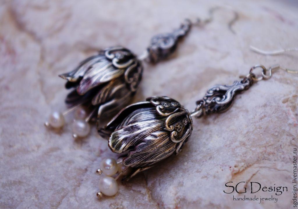 Silver earrings 'flora' River pearl flower 925 silver, Earrings, Yalta,  Фото №1