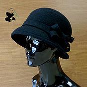 Аксессуары ручной работы. Ярмарка Мастеров - ручная работа Стильная дамская шляпка букле. Чёрная.. Handmade.
