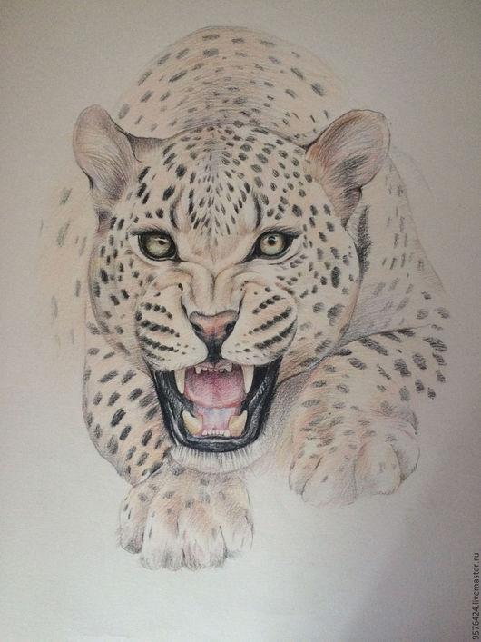 Животные ручной работы. Ярмарка Мастеров - ручная работа. Купить леопард. Handmade. Леопард, хищник, цветные карандаши