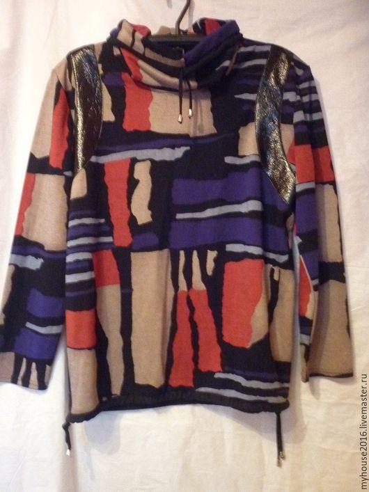 Большие размеры ручной работы. Ярмарка Мастеров - ручная работа. Купить Блуза из трикотажного полотна Разноцветная большой размер. Handmade. Комбинированный
