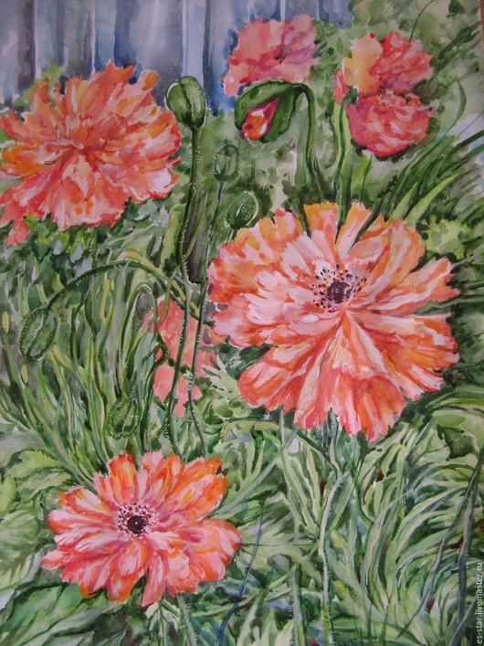 Картины цветов ручной работы. Ярмарка Мастеров - ручная работа. Купить Маки. Handmade. Комбинированный, зеленый цвет, маки, цветы