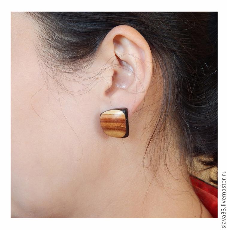 Ornaments made of wood ( earrings ), Earrings, Vladimir,  Фото №1