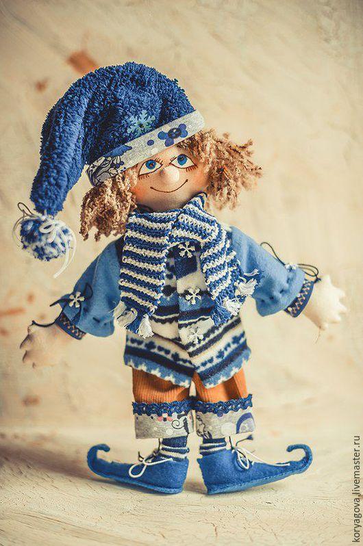 Коллекционные куклы ручной работы. Ярмарка Мастеров - ручная работа. Купить Зимний гном. Handmade. Синий, сказка, вельвет