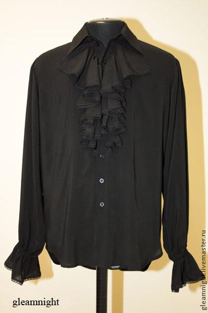 Для мужчин, ручной работы. Ярмарка Мастеров - ручная работа. Купить Батистовая мужская рубашка с жабо. Handmade. Черный