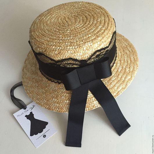 """Шляпы ручной работы. Ярмарка Мастеров - ручная работа. Купить Шляпка """"Канотье"""" - НУАР. Handmade. Бежевый, купить канотье, соломка"""