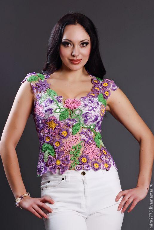 """Топы ручной работы. Ярмарка Мастеров - ручная работа. Купить блуза"""" Весна"""". Handmade. Кружево, блуза, сиреневый цвет"""
