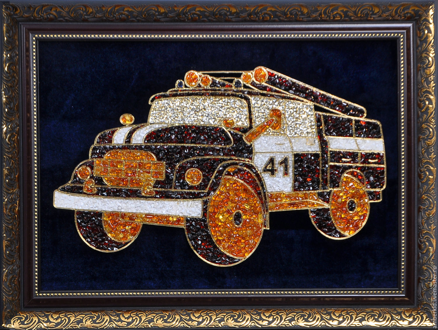 panels of amber `fire truck. 41 the drive to saint petersburg with natural baltic antaree rock crystal. work made to order.