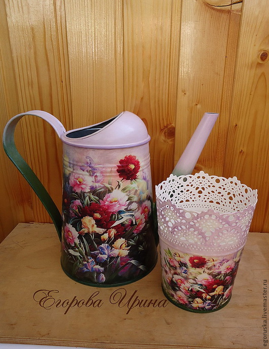 Watering Сans handmade. Livemaster - handmade. Buy Watering The Peonies.Decoupage, pots, watering can for watering flow
