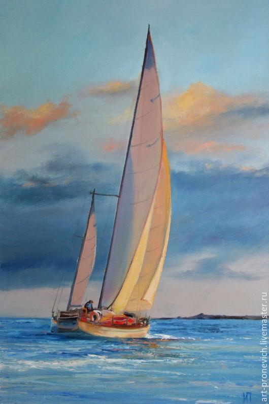 Пейзаж ручной работы. Ярмарка Мастеров - ручная работа. Купить Продана. Попутный ветер. Handmade. Голубой, море, парус, корабль
