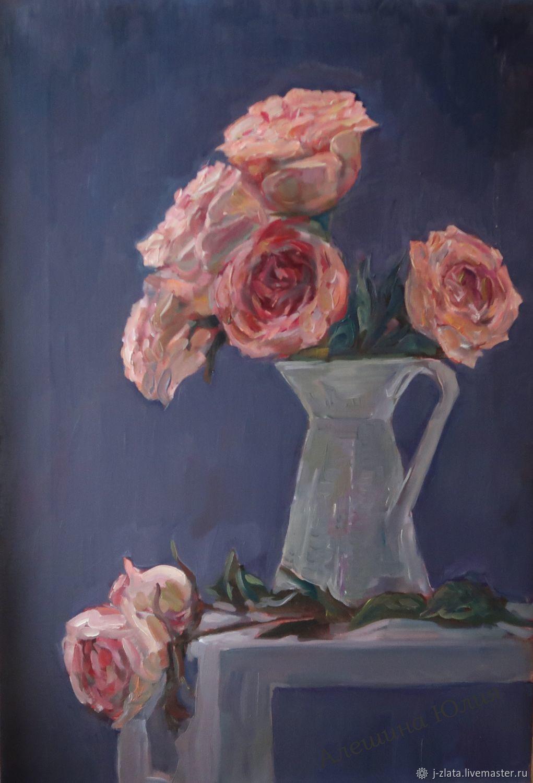Вечерние розы,  картина натюрморт, Картины, Москва,  Фото №1