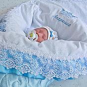 """Работы для детей, ручной работы. Ярмарка Мастеров - ручная работа Одеяло для новорожденного на выписку  """" словно облако"""". Handmade."""