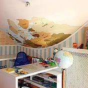 Дизайн и реклама ручной работы. Ярмарка Мастеров - ручная работа Карта Европы роспись стен. Handmade.