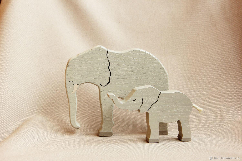 Деревянная игрушка - Слоны, Миниатюрные игрушки, Красноярск, Фото №1