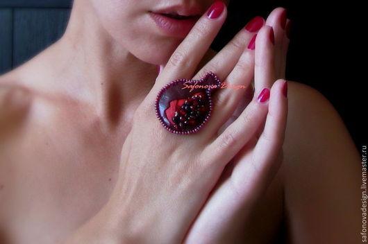 Кольца ручной работы. Ярмарка Мастеров - ручная работа. Купить Garnet Cocktail Ring. Handmade. Бордовый, коктейльное кольцо
