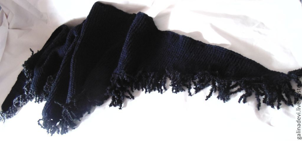 BACCHUS BOSNIAN fringed knitted black autumn winter, Scarves, Moscow,  Фото №1