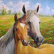 Картины и панно ручной работы. Ярмарка Мастеров - ручная работа Лошадь и жеребенок Принт Картина. Handmade.