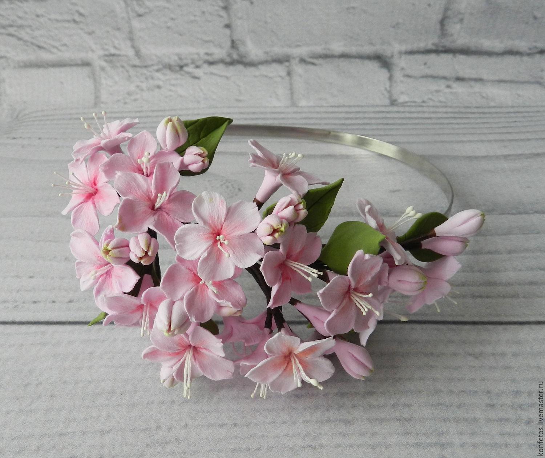 Bezel 'cherry blossom' polymer clay, Headband, Voskresensk,  Фото №1