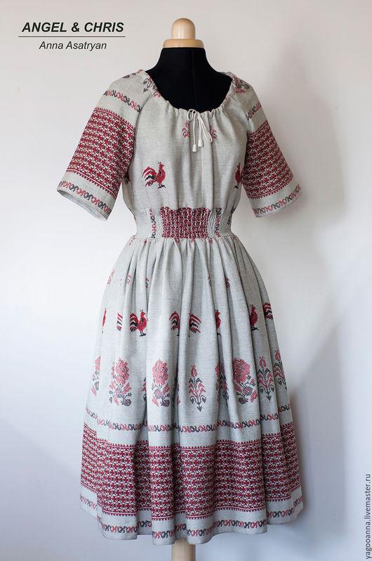 Платья ручной работы. Ярмарка Мастеров - ручная работа. Купить Льняное платье,платье в народном стиле.... Handmade. Серый
