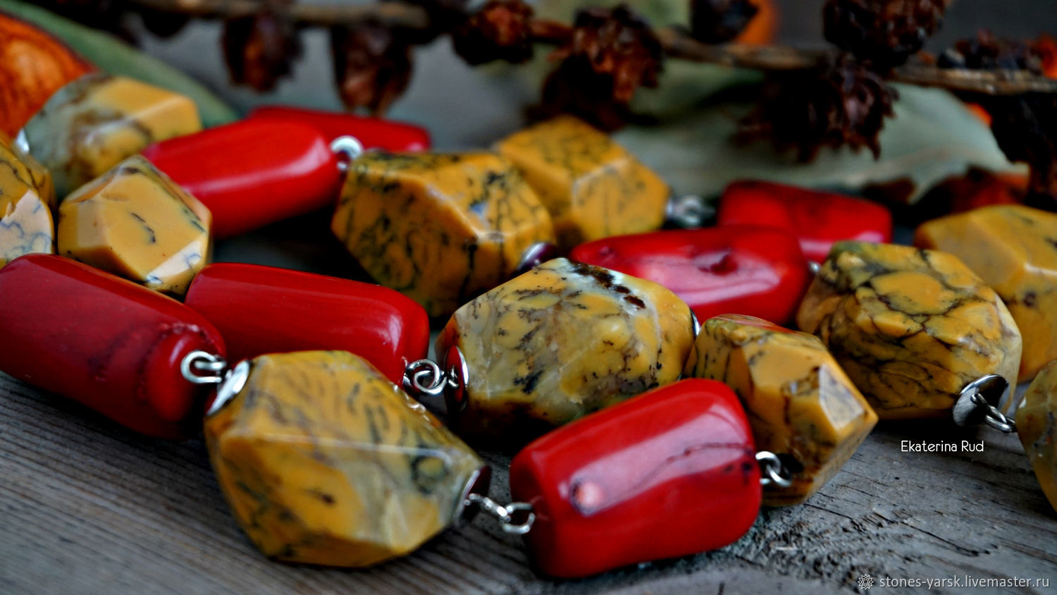 Necklace of large stones of Jasper and coral ' Hot sun', Necklace, Moscow,  Фото №1