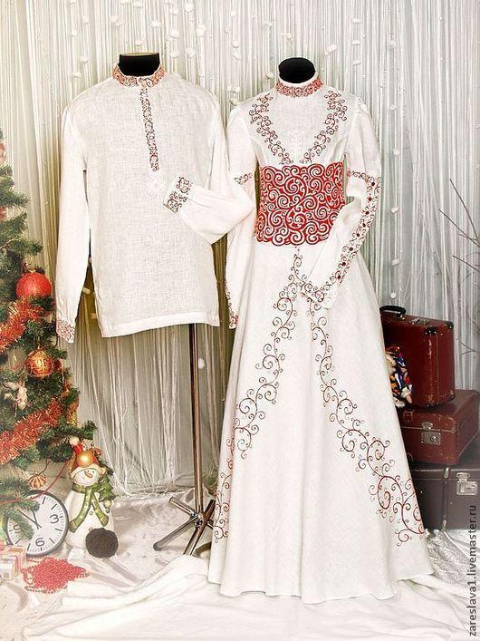 Платье с основным корсетом, где по белому полю выполнена роспись красным цветом