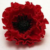 "Украшения handmade. Livemaster - original item Brooch""Shagane"". Brooch red poppy. Polymer clay.Handiwork. Handmade."