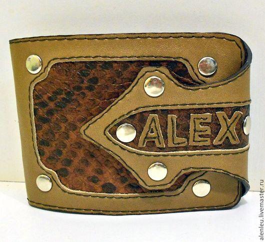 """Кошельки и визитницы ручной работы. Ярмарка Мастеров - ручная работа. Купить """"Алекс"""" кожаный мужской кошелек. Handmade. Коричневый, для мужчин"""