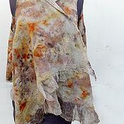 """Одежда ручной работы. Ярмарка Мастеров - ручная работа Жилет-накидка """"Узоры"""" натуральное окрашивание, экопринт. Handmade."""