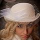 """Шляпы ручной работы. Ярмарка Мастеров - ручная работа. Купить Шляпа - котелок """"Шик"""", велюр. Handmade. Белый, невеста"""